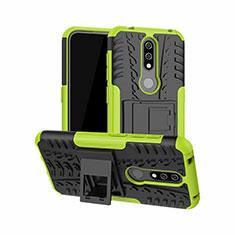Silikon Hülle Handyhülle und Kunststoff Schutzhülle Hartschalen Tasche mit Ständer für Nokia 4.2 Grün