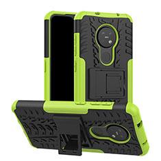 Silikon Hülle Handyhülle und Kunststoff Schutzhülle Hartschalen Tasche mit Ständer für Nokia 7.2 Grün