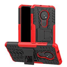 Silikon Hülle Handyhülle und Kunststoff Schutzhülle Hartschalen Tasche mit Ständer für Nokia 7.2 Rot