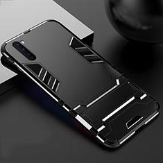 Silikon Hülle Handyhülle und Kunststoff Schutzhülle Hartschalen Tasche mit Ständer für OnePlus Nord Schwarz