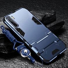 Silikon Hülle Handyhülle und Kunststoff Schutzhülle Hartschalen Tasche mit Ständer für Oppo A91 Blau