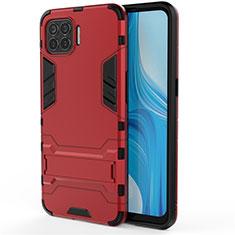 Silikon Hülle Handyhülle und Kunststoff Schutzhülle Hartschalen Tasche mit Ständer für Oppo F17 Pro Rot