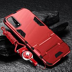 Silikon Hülle Handyhülle und Kunststoff Schutzhülle Hartschalen Tasche mit Ständer für Oppo K7x 5G Rot
