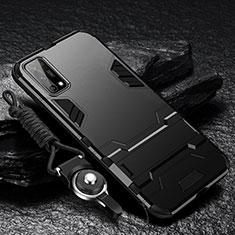 Silikon Hülle Handyhülle und Kunststoff Schutzhülle Hartschalen Tasche mit Ständer für Oppo K7x 5G Schwarz