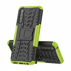 Silikon Hülle Handyhülle und Kunststoff Schutzhülle Hartschalen Tasche mit Ständer für Realme 6 Pro Grün
