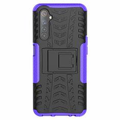 Silikon Hülle Handyhülle und Kunststoff Schutzhülle Hartschalen Tasche mit Ständer für Realme 6s Violett