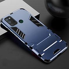 Silikon Hülle Handyhülle und Kunststoff Schutzhülle Hartschalen Tasche mit Ständer für Realme 7i Blau