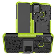 Silikon Hülle Handyhülle und Kunststoff Schutzhülle Hartschalen Tasche mit Ständer für Realme C15 Grün