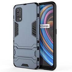 Silikon Hülle Handyhülle und Kunststoff Schutzhülle Hartschalen Tasche mit Ständer für Realme Q2 Pro 5G Blau