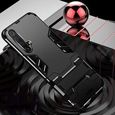 Silikon Hülle Handyhülle und Kunststoff Schutzhülle Hartschalen Tasche mit Ständer für Realme X3 SuperZoom Schwarz