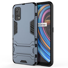 Silikon Hülle Handyhülle und Kunststoff Schutzhülle Hartschalen Tasche mit Ständer für Realme X7 Pro 5G Blau