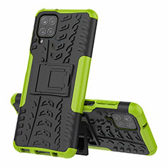 Silikon Hülle Handyhülle und Kunststoff Schutzhülle Hartschalen Tasche mit Ständer für Samsung Galaxy A12 Grün