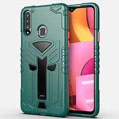 Silikon Hülle Handyhülle und Kunststoff Schutzhülle Hartschalen Tasche mit Ständer für Samsung Galaxy A20s Grün