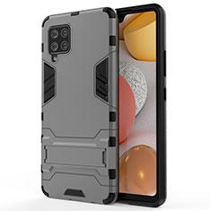 Silikon Hülle Handyhülle und Kunststoff Schutzhülle Hartschalen Tasche mit Ständer für Samsung Galaxy A42 5G Grau