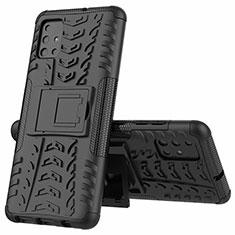 Silikon Hülle Handyhülle und Kunststoff Schutzhülle Hartschalen Tasche mit Ständer für Samsung Galaxy A51 4G Schwarz