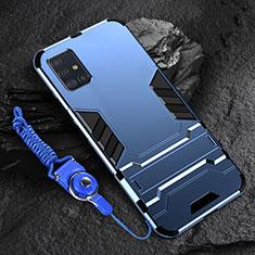 Silikon Hülle Handyhülle und Kunststoff Schutzhülle Hartschalen Tasche mit Ständer für Samsung Galaxy A71 5G Blau