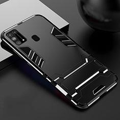 Silikon Hülle Handyhülle und Kunststoff Schutzhülle Hartschalen Tasche mit Ständer für Samsung Galaxy M21s Schwarz