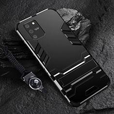 Silikon Hülle Handyhülle und Kunststoff Schutzhülle Hartschalen Tasche mit Ständer für Samsung Galaxy S10 Lite Schwarz