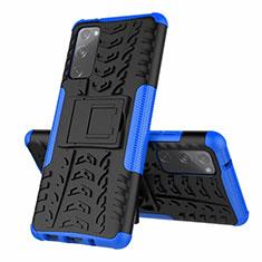 Silikon Hülle Handyhülle und Kunststoff Schutzhülle Hartschalen Tasche mit Ständer für Samsung Galaxy S20 FE 5G Blau