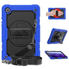 Silikon Hülle Handyhülle und Kunststoff Schutzhülle Hartschalen Tasche mit Ständer für Samsung Galaxy Tab A7 4G 10.4 SM-T505 Blau
