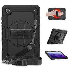 Silikon Hülle Handyhülle und Kunststoff Schutzhülle Hartschalen Tasche mit Ständer für Samsung Galaxy Tab A7 4G 10.4 SM-T505 Schwarz