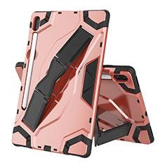 Silikon Hülle Handyhülle und Kunststoff Schutzhülle Hartschalen Tasche mit Ständer für Samsung Galaxy Tab S6 10.5 SM-T860 Rosegold