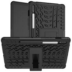 Silikon Hülle Handyhülle und Kunststoff Schutzhülle Hartschalen Tasche mit Ständer für Samsung Galaxy Tab S7 4G 11 SM-T875 Schwarz