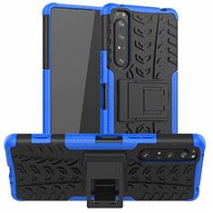 Silikon Hülle Handyhülle und Kunststoff Schutzhülle Hartschalen Tasche mit Ständer für Sony Xperia 1 II Blau