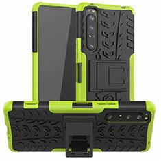 Silikon Hülle Handyhülle und Kunststoff Schutzhülle Hartschalen Tasche mit Ständer für Sony Xperia 1 II Grün