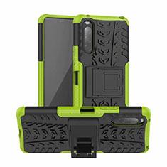 Silikon Hülle Handyhülle und Kunststoff Schutzhülle Hartschalen Tasche mit Ständer für Sony Xperia 10 II Grün