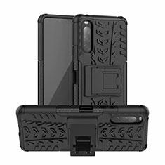 Silikon Hülle Handyhülle und Kunststoff Schutzhülle Hartschalen Tasche mit Ständer für Sony Xperia 10 II Schwarz