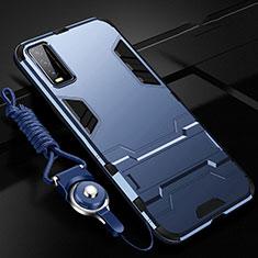 Silikon Hülle Handyhülle und Kunststoff Schutzhülle Hartschalen Tasche mit Ständer für Vivo Y20s Blau