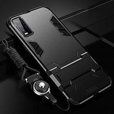 Silikon Hülle Handyhülle und Kunststoff Schutzhülle Hartschalen Tasche mit Ständer für Vivo Y20s Schwarz