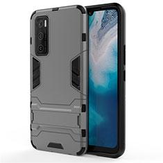 Silikon Hülle Handyhülle und Kunststoff Schutzhülle Hartschalen Tasche mit Ständer für Vivo Y70 (2020) Grau