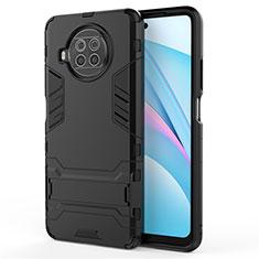 Silikon Hülle Handyhülle und Kunststoff Schutzhülle Hartschalen Tasche mit Ständer für Xiaomi Mi 10T Lite 5G Schwarz