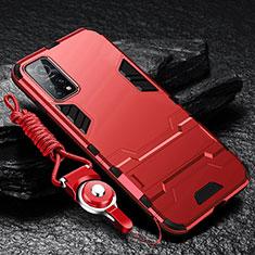 Silikon Hülle Handyhülle und Kunststoff Schutzhülle Hartschalen Tasche mit Ständer für Xiaomi Mi 10T Pro 5G Rot