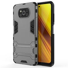 Silikon Hülle Handyhülle und Kunststoff Schutzhülle Hartschalen Tasche mit Ständer für Xiaomi Poco X3 NFC Grau