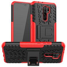Silikon Hülle Handyhülle und Kunststoff Schutzhülle Hartschalen Tasche mit Ständer für Xiaomi Redmi 9 Prime India Rot