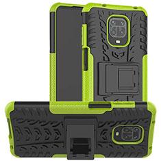 Silikon Hülle Handyhülle und Kunststoff Schutzhülle Hartschalen Tasche mit Ständer für Xiaomi Redmi Note 9 Pro Grün