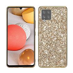 Silikon Hülle Handyhülle und Kunststoff Schutzhülle Hartschalen Tasche Vorder und Rückseite 360 Grad Ganzkörper Bling-Bling für Samsung Galaxy A42 5G Gold