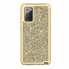 Silikon Hülle Handyhülle und Kunststoff Schutzhülle Hartschalen Tasche Vorder und Rückseite 360 Grad Ganzkörper Bling-Bling für Samsung Galaxy Note 20 5G Gold