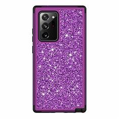 Silikon Hülle Handyhülle und Kunststoff Schutzhülle Hartschalen Tasche Vorder und Rückseite 360 Grad Ganzkörper Bling-Bling für Samsung Galaxy Note 20 Ultra 5G Violett