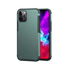 Silikon Hülle Handyhülle und Kunststoff Schutzhülle Hartschalen Tasche Vorder und Rückseite 360 Grad Ganzkörper für Apple iPhone 12 Pro Nachtgrün