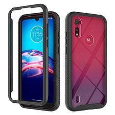 Silikon Hülle Handyhülle und Kunststoff Schutzhülle Hartschalen Tasche Vorder und Rückseite 360 Grad Ganzkörper für Motorola Moto E6s (2020) Schwarz