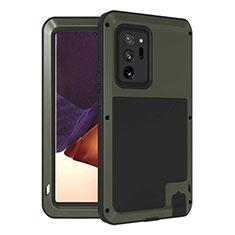 Silikon Hülle Handyhülle und Kunststoff Schutzhülle Hartschalen Tasche Vorder und Rückseite 360 Grad Ganzkörper für Samsung Galaxy Note 20 Ultra 5G Armee-Grün