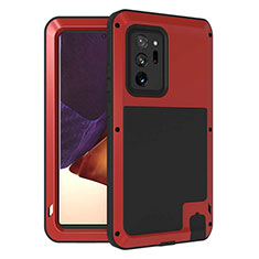 Silikon Hülle Handyhülle und Kunststoff Schutzhülle Hartschalen Tasche Vorder und Rückseite 360 Grad Ganzkörper für Samsung Galaxy Note 20 Ultra 5G Rot