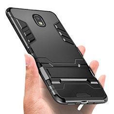 Silikon Hülle Handyhülle und Kunststoff Schutzhülle mit Fingerring Ständer A01 für Samsung Galaxy J3 (2018) SM-J377A Schwarz