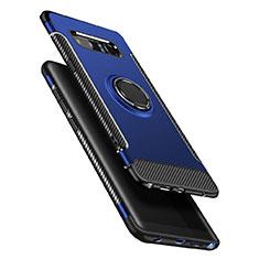 Silikon Hülle Handyhülle und Kunststoff Schutzhülle mit Fingerring Ständer A01 für Samsung Galaxy Note 8 Duos N950F Blau