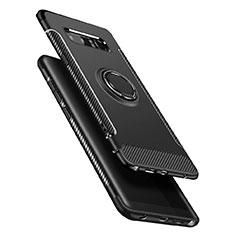 Silikon Hülle Handyhülle und Kunststoff Schutzhülle mit Fingerring Ständer A01 für Samsung Galaxy Note 8 Schwarz