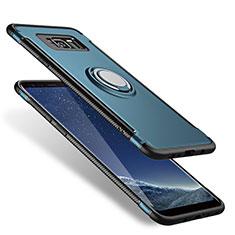 Silikon Hülle Handyhülle und Kunststoff Schutzhülle mit Fingerring Ständer A01 für Samsung Galaxy S8 Blau